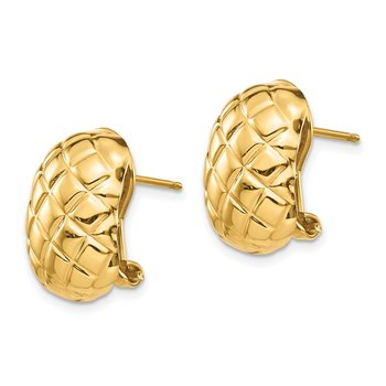 14k Polished Quilted Omega Back Post Earrings