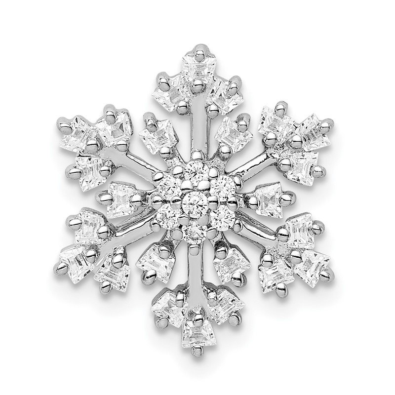 Quality Gold Sterling Silver Rhodium-plated CZ Snowflake Chain Slide