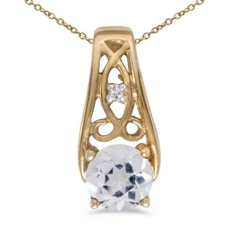 14k Yellow Gold Round White Topaz And Diamond Pendant