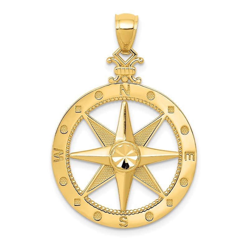 Quality Gold 14K Diamond-Cut Polished and Satin Compass Pendant