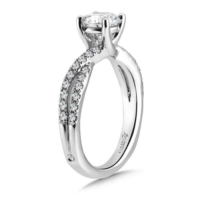 Caro74 Criss Cross Engagement Ring with Diamond Side Stones in 14K White Gold (1ct. tw.)