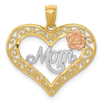14k Two-tone w/White Rhodium D/C MOM in Heart w/Rose Pendant