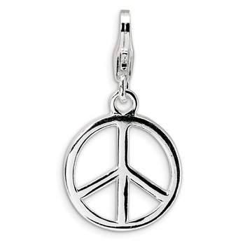 SS RH Small Polished Peace Sign w/Lobster Clasp Charm