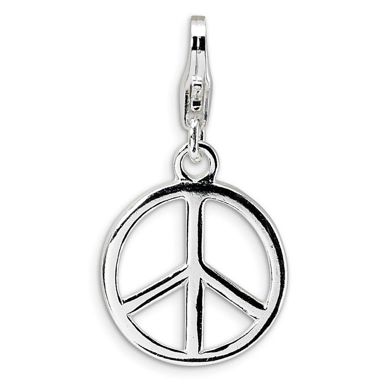 Quality Gold Sterling Silver Small Polished Peace Sign w/Lobster Clasp Charm