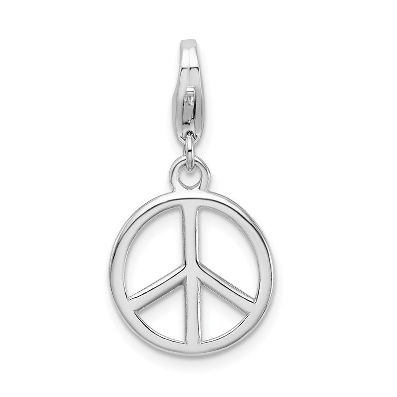 J.F. Kruse Signature Collection Sterling Silver Amore La Vita Rhodium-plated Small Peace Sign Charm