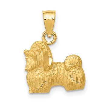 14K Diamond-cut Shih Tzu Pendant