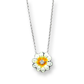 Sterling Silver Daisy Necklace-White.  Diamonds.