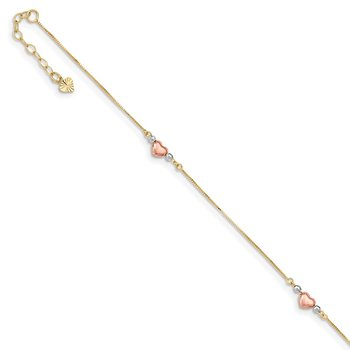 14k Tri-Color Puffed Heart 9in Plus 1in ext Anklet