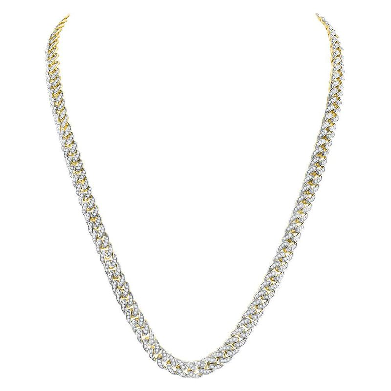 Gold-N-Diamonds 10kt Yellow Gold Mens Round Diamond Cuban Link Chain Necklace 7.00 Cttw