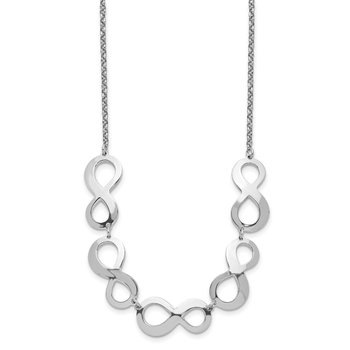 Sterling Silver Rhodium-plated Infinity w/2in. Ext. Necklace