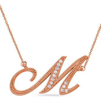 Rose Gold Diamond Initial M Pendant