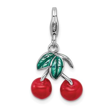 Sterling Silver RH 3-D Enameled Red Cherries w/Lobster Clasp Charm
