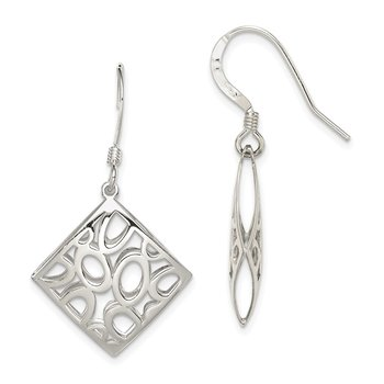 Sterling Silver Polished Square with Circles Dangle Earrings