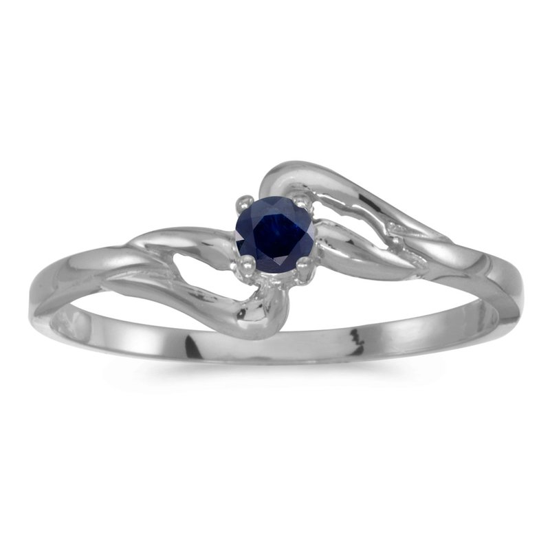 Color Merchants 14k White Gold Round Sapphire Ring
