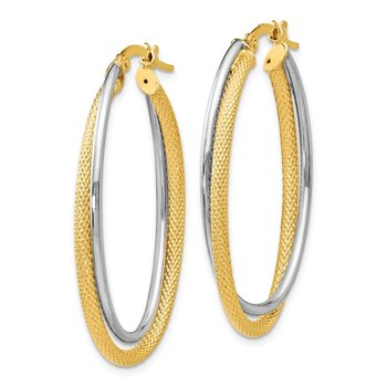 Leslie's 14K Polished Textured Oval Hoop Earrings