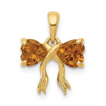14k Gold Polished Citrine Bow Pendant