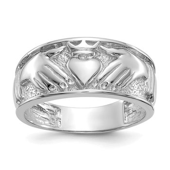 14k White Gold Men's Claddagh Band