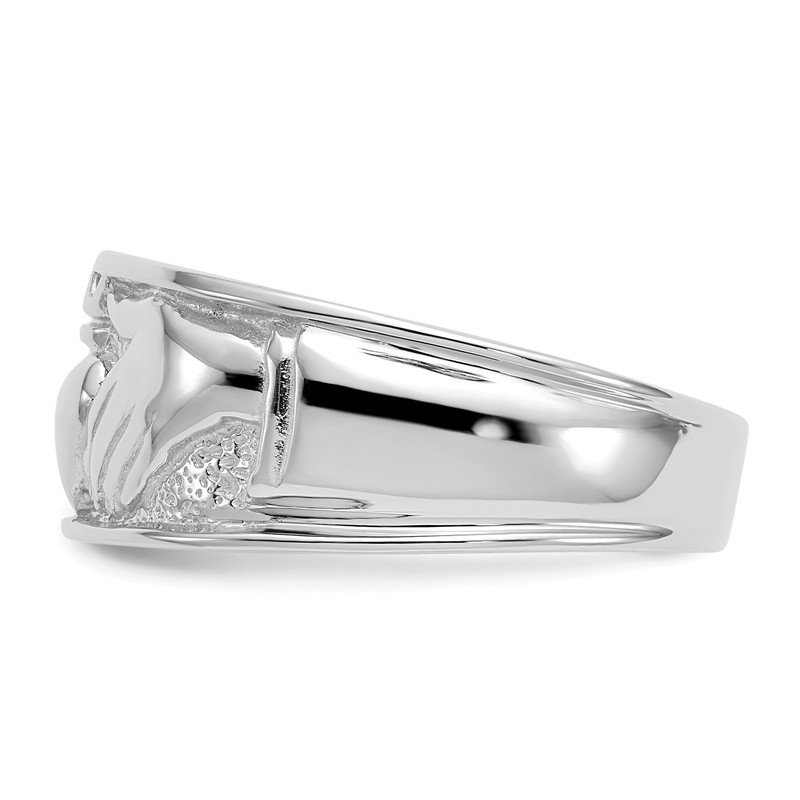 Quality Gold 14k White Gold Men's Claddagh Band
