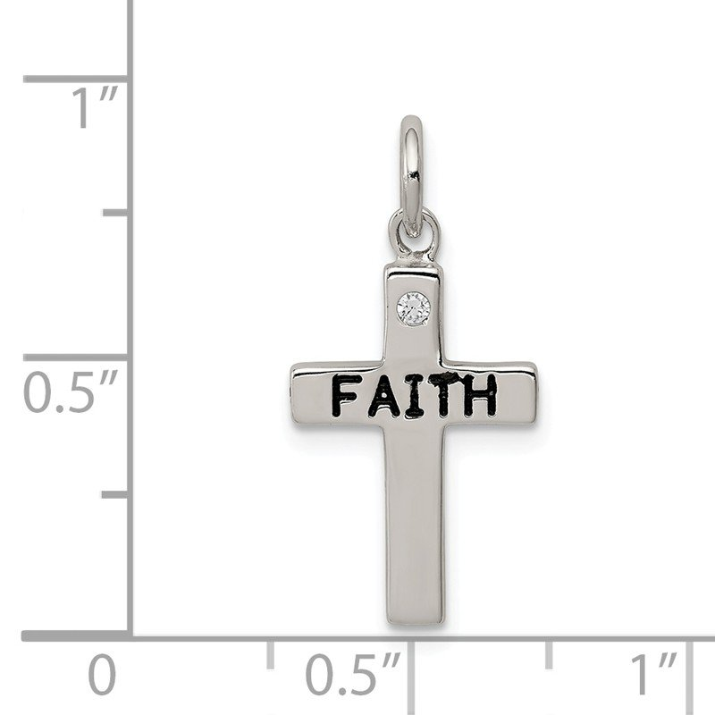 Quality Gold Sterling Silver FAITH & CZ Antiqued Cross Charm