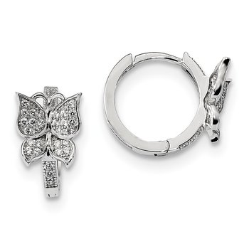 Sterling Silver Brilliant Embers Rhodium-plated CZ Butterfly Hoop Earrings
