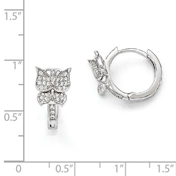 SS Rhodium-Plated CZ Brilliant Embers Butterfly Hoop Earrings