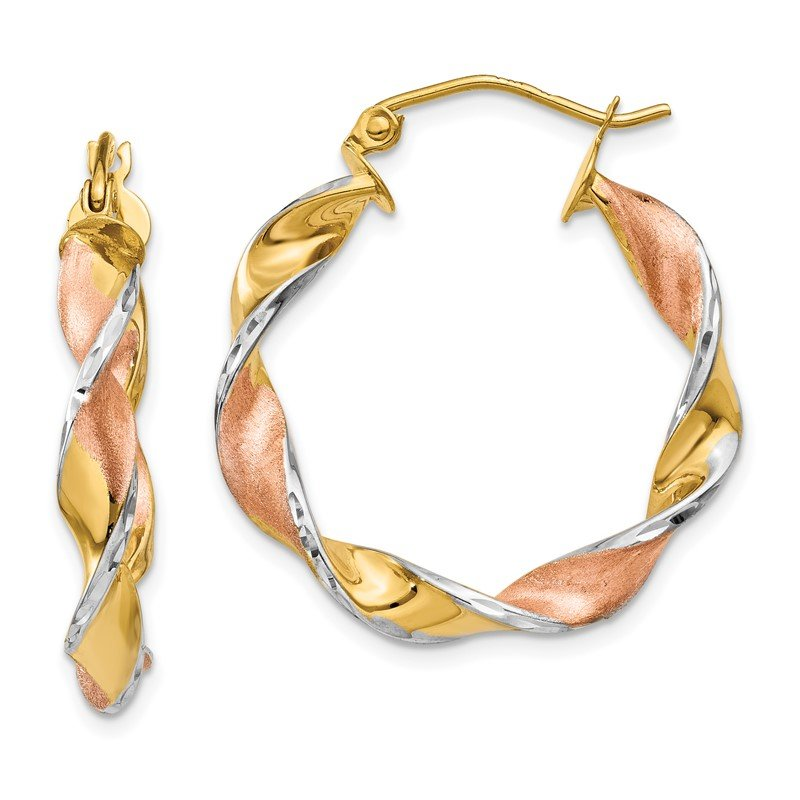 Quality Gold 14k & Rhodium Twisted Hoop Earrings