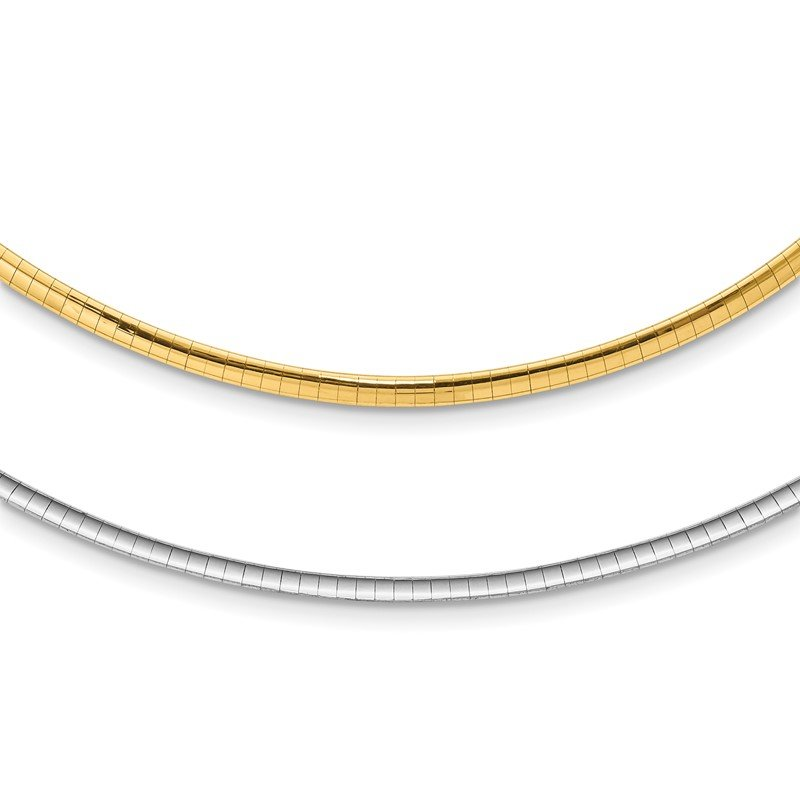 Quality Gold 14k Two-tone Lt Reversible 3mm Omega w/extender Necklace