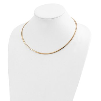 14k Two-tone Lt Reversible 3mm Omega w/extender Necklace