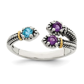 Sterling Silver w/ 14K Accent Amethyst & Light Swiss Blue Topaz Ring