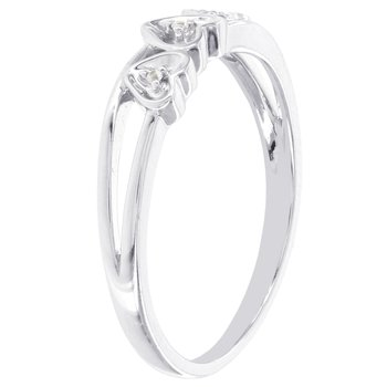 Sterling Silver Diamond Accent Triple Heart Promise Ring