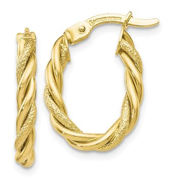Leslie's 10K Polished and Textured Gold Earrings