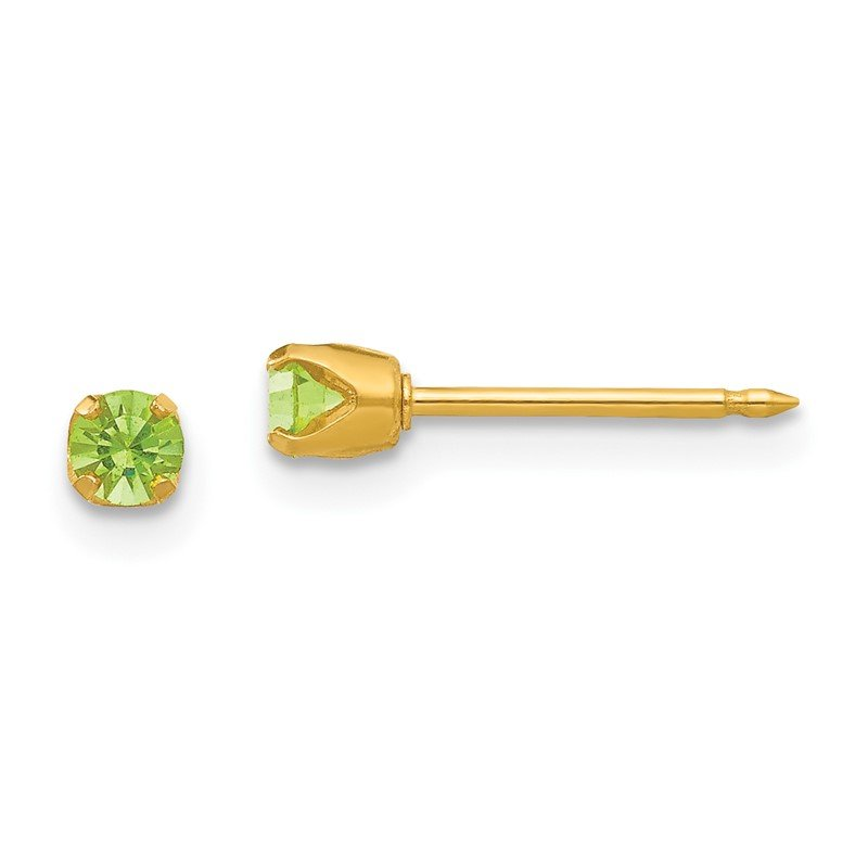 Quality Gold Inverness 24k Plated August Lt. Green Crystal Birthstone Earrings