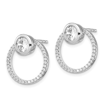 Sterling Silver RH-plated CZ Circle Dangle Jackets with CZ Post Earrings
