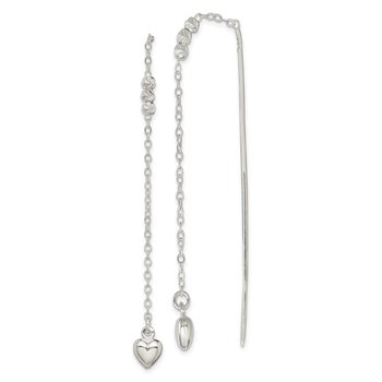 Sterling Silver Polished and D/C Heart Beaded Threader Earrings