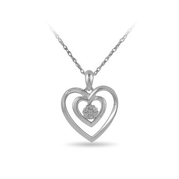 925 SS & Diamond Double Heart Pendant