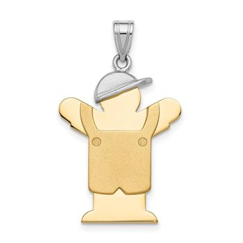 14k Two-Tone Large Boy with Hat on Left Engravable Charm