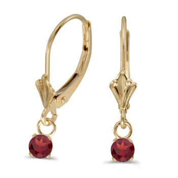 14k Yellow Gold Round Garnet Lever-back Earrings