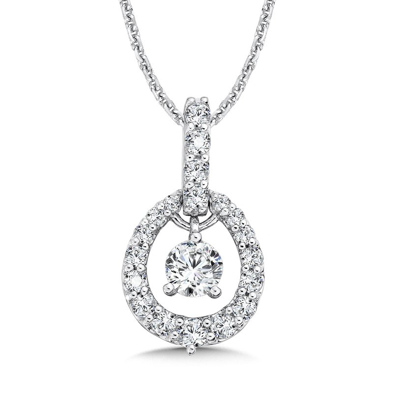 Caro74 Diamond Pendant with Diamond Bale in 14K White Gold (1/3ct. tw.)