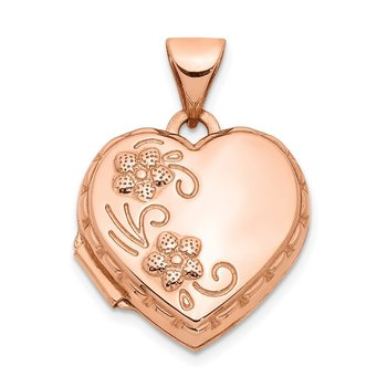 14k Rose Gold 15mm Floral Heart Locket