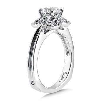 Inspired Vintage Collection Diamond Halo Engagement Ring in 14K White Gold with Platinum Head (1ct. tw.)