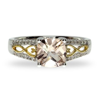 14 Two-toned Morganite and Diamond Ring