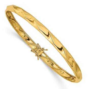 14k Yellow Gold Polished Twisted Flexible Bangle