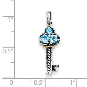 Sterling Silver w/14k Blue Topaz Antiqued Key Charm