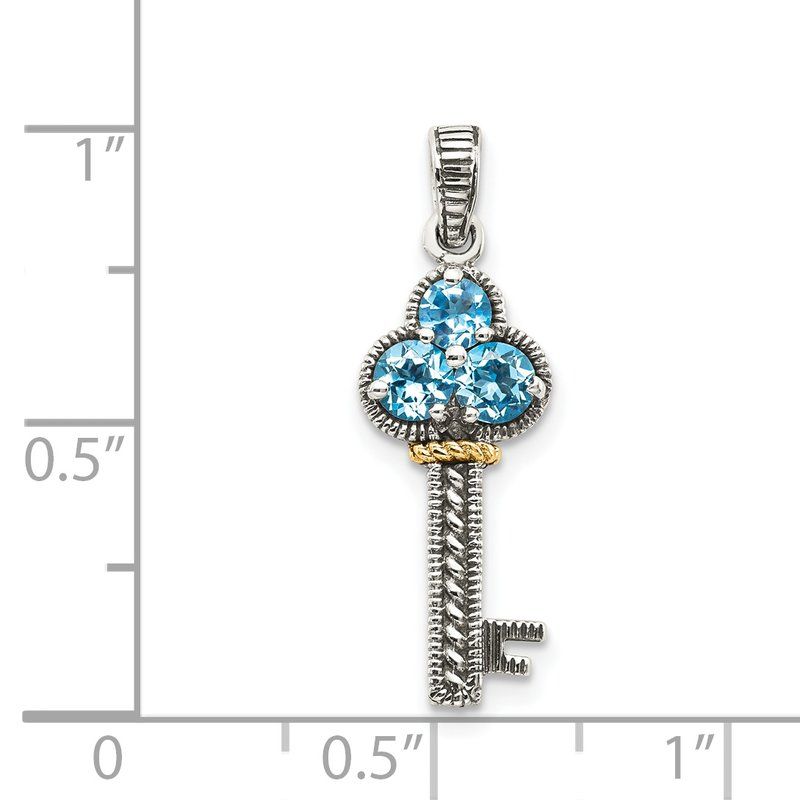 Shey Couture Sterling Silver w/14k Blue Topaz Antiqued Key Charm