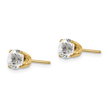 14k 5mm White Topaz Earrings - April