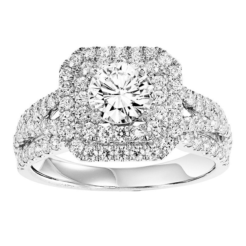 14K Diamond Engagement Ring 1 ctw With 3/4 ct Center Diamond