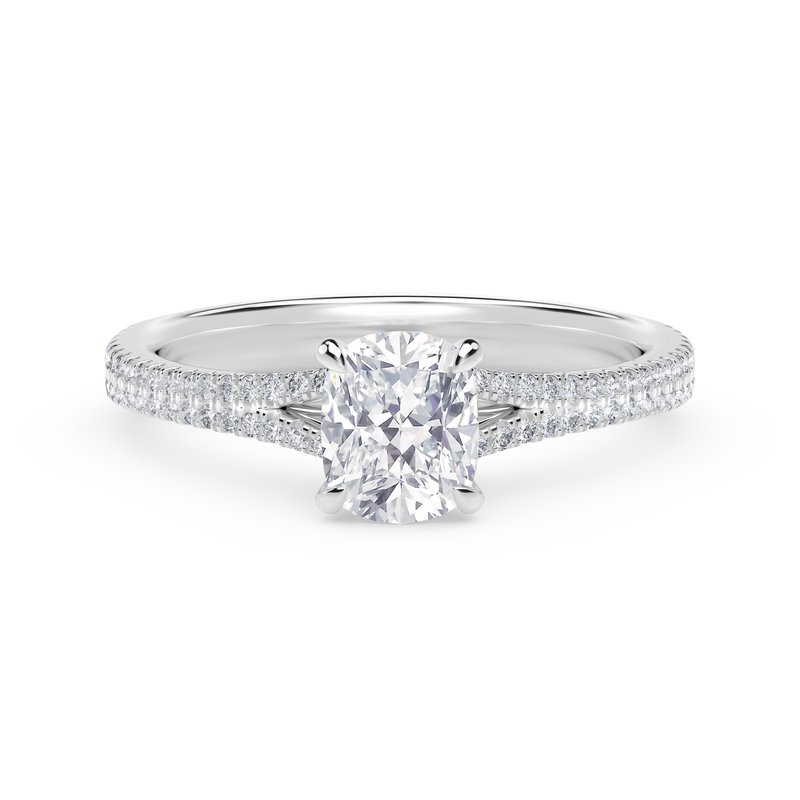 Forevermark Engagement and Commitment Forevermark Icon™ Setting Cushion Engagement Ring with Two Row Pave Band