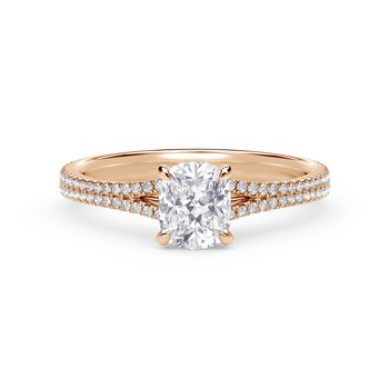 Forevermark Icon™ Setting Cushion Engagement Ring with Two Row Pave Band