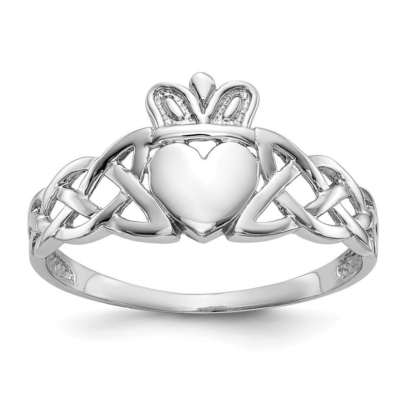 Quality Gold 14k White Gold Mens Claddagh Ring