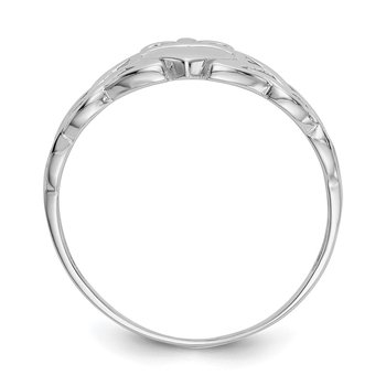 14k White Gold Mens Claddagh Ring